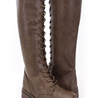 Brown Faux Leather Lace Up Mid Calf Riding Boots