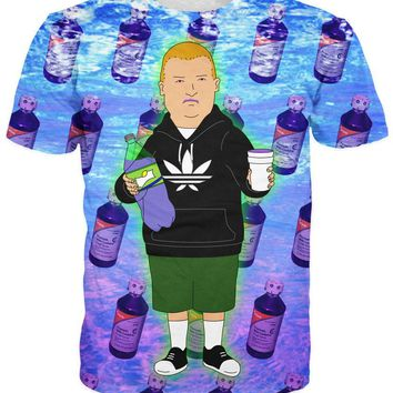 Bobby Trill King Of The Hill Lean Cup Codeine Bottles Syrup Sizzurp All Over Full Print 3D Diy Sublimated Polyester Blend Unisex T-Shirt