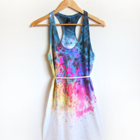 Splash Dyed Hand PAINTED Scoop Neck Racerback Tunic Tee Dress in White Spectrum Rainbow - XS S M L