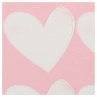 Soft Pink Watercolor Hearts Valentines Fabric