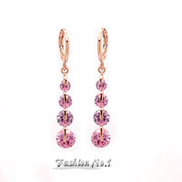 New Arriveal 6 Colors Drop Dangle Pierced Earrings 18K Rose Gold Plated Fashion Earrings Jewelry Pink CZ Diamond Free Shipping