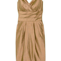 Kay Unger Metallic shantung silk dress - 70% Off Now at THE OUTNET