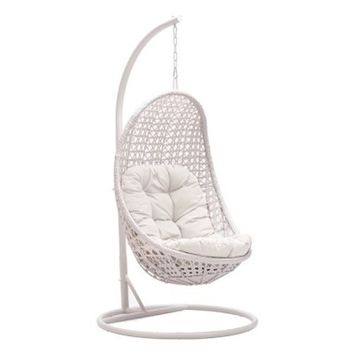 MOJO SOLUTIONS- Daydreamer Wicker Patio/Garden/Hotel Resort Hanging Oval Swing Chair with cushions-Ivory White