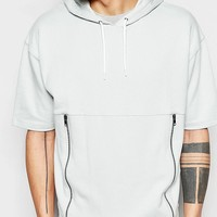 ASOS Short Sleeve Oversized Hoodie With Zip Pockets