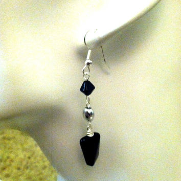 RESERED for Jenifer - Extra Long Black Glass Rectangular Pendant Necklace and Matching Dangle Glass Beaded Earrings Set