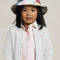 2-6X Cotton Cabled Cardigan
