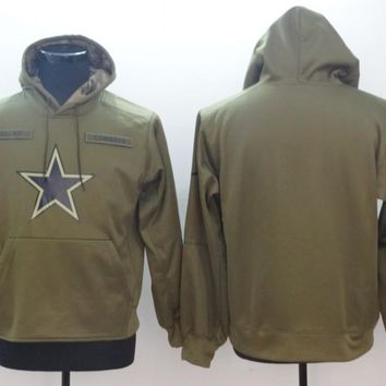 Mens Dallas Cowboys Salute to Service Sideline Therma Performance Pullover Hoodie ? Olive