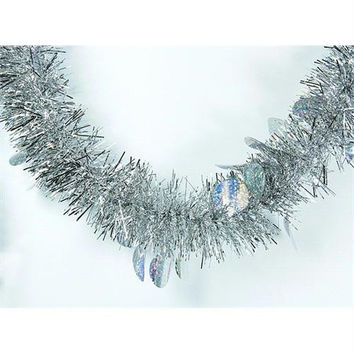 Tinsel Garland - Silver With Holographic Polka Dots