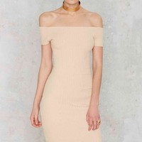 Tori Ribbed Off-the-Shoulder Dress - Nude