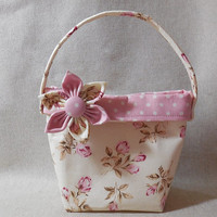 Lovely Light Pink and Cream Floral Little Girls' Purse With Detachable Fabric Flower Pin