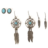 With Love From CA Stud Feather Dream Catcher Earring Set - Womens Jewelry - Gold - NOSZ