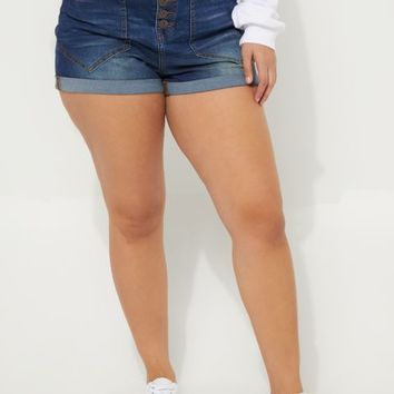 Plus Button Up Cuffed High Waisted Shortie