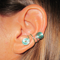 Non Pierced Double Spiral Ear Cuffs 1 Cuff - Aqua or 17 Color Choices