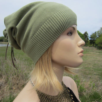 Sage Green PIMA Cotton Slouch Beanie Lightweight Hat Leather Tie Top Back  A1145