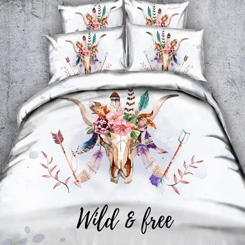 Deer/Elk Mandala Bedding All-Season Reversible Hypoallergenic Plush Microfiber Fill - Box Stitched - Machine Washable 3/4 Pi'e'c