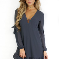 Staten Island Charcoal Long Sleeve Dress