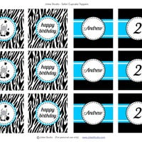 Elephant, Tiger, Zebra, or Lion Party Printable Cupcake Toppers