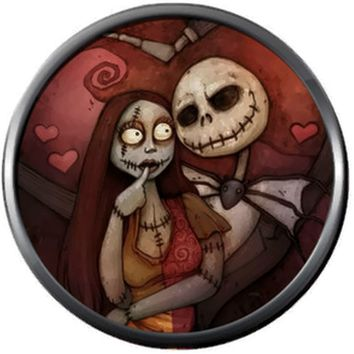 Red Jack And Sally In Love Heart Halloween Town Nightmare Before Christmas Jack Skellington 18MM - 20MM Charm for Snap Jewelry New Item