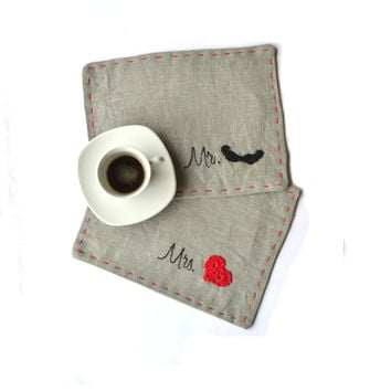 Valentine gift - Set of two grey linen mug rug with heart and mustache.