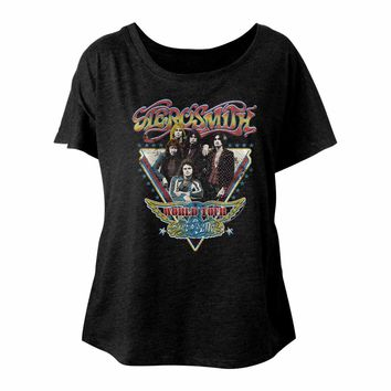 Aerosmith Ladies Dolman T-Shirt World Tour Black Tee