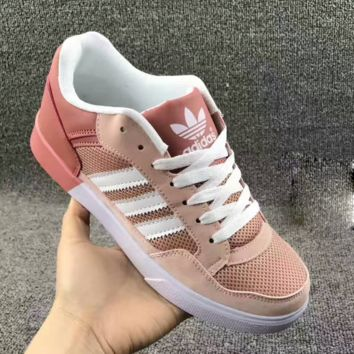 """ADIDAS"" Trending Fashion Casual Sports Shoes Pink white line"