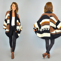 MOHAIR oversized vintage 1980s SOUTHWESTERN bohemian geometric stripe CARDIGAN sweater, extra small-large