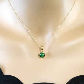 Single Bead Necklace - May Birthstone - Gold Filled Jade Necklace - Tiny Green E
