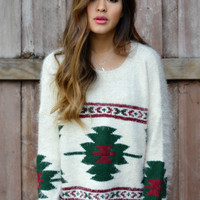 Fuzzy Tribal Knit Sweater