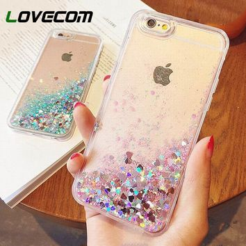LOVECOM Love Heart Stars Glitter Stars Phone Case For iPhone 5 5S SE 6 6S 7 8 Plus Dynamic Liquid Quicksand Soft TPU Back Cover