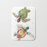 Two Underwater Sea Turtles, Olive Green Cherry Colored Sea Turtles, Bath Mat by SurenArt