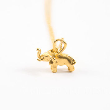 Gold Vermeil Elephant Charm Necklace, Minimalist Charm Jewelry, Everyday Necklace, Short Necklace, Boho Necklace