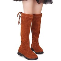 Suede Round Toe Toddler Girl Flat Knee High Boots