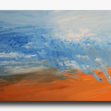 Abstract art canvas painting  orange blue 150cm x 50cm