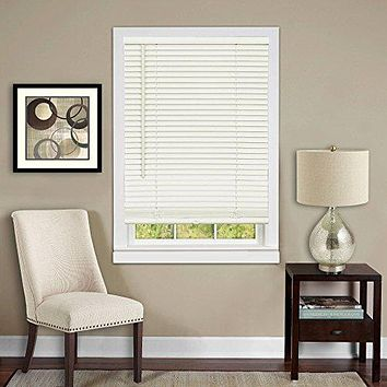 Anochecer Collection Set of 6 Cordless Vinyl 1-Inch Room Darkening Mini Blinds- Alabaster - 23 inch  x 64 inch  (Actual Measurement 22.5 inch  x 64 inch )