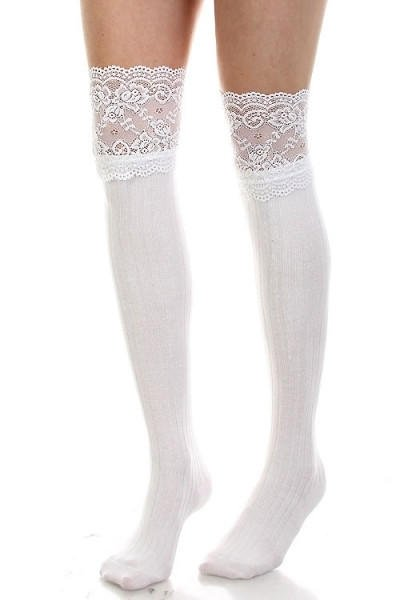 1c261cb76 Wide Lace Trim Thigh High Socks - Gray