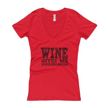 Wine Gives Superpowers - Women's V-Neck