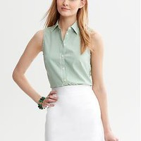 Non-Iron Green Stripe Shirt | Banana Republic