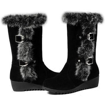 Plus Size 33-43 Women Wedges Shoes Fashion Warm Winter Rubbit Hair Boots Mid Calf Faux Rabbit Fur Snow Boots