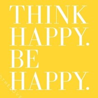 Think Happy. Be Happy. - Inspiring 8x10 inch Print on A4 (in Sunshine Yellow and Cloud White)