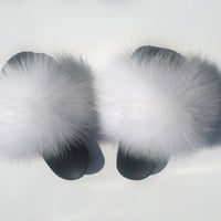 White fox fur slides snow fur slippers women's fur sliders