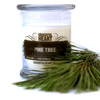 Pine Tree Soy Candle, Soy Container Candle, Scented Soy Candle, 12 oz, Natural Soy Candle, Holiday Candle