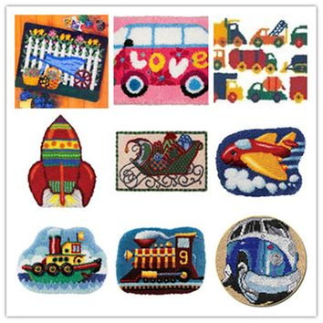 USA shipping Latch Hook Kit Rug Cushion Pillow Mat DIY Craft Car Cross Stitch Needlework Crocheting Rug Embroidery