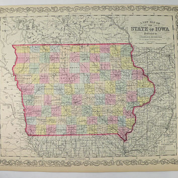 Antique 1858 Iowa Map, Original 1858 Mitchell DeSilver IA Map Iowa, Gift for Fathers Day Gift, Unique Guy Gift Vintage Decor Gift for Couple