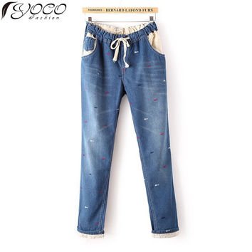 2015 New Europe Woman's  Fashion Embroidery Flanging Harem Pants   Womens Plus Size Casual Pants Elastic Wasit Jeans T8620