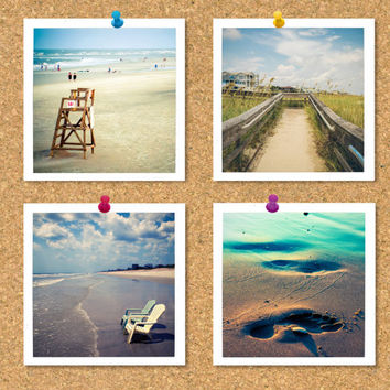 Square print set, summer photographs, set of 4 photos, ocean, beach, vintage square photos, travel photography, gift prints, small photo set