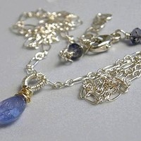 Tanzanite Solitaire necklace Silver Iolite Camp Sundance jewelry Gem Bliss