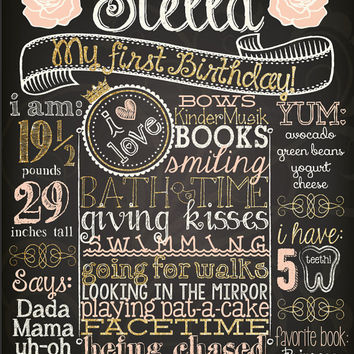 SHABBY CHIC Customized Chalkboard First Second Third Fourth Fifth Birthday Poster Girl w/ Roses With or Without Digital Glitter