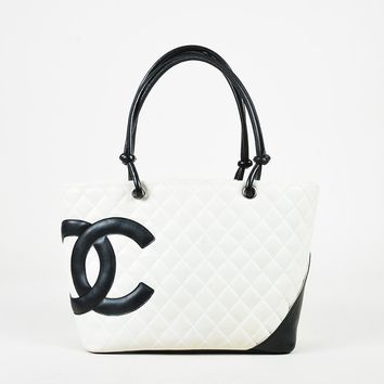 "Chanel White Black Quilted Calfskin Leather ""Ligne Cambon"" Tote Bag"