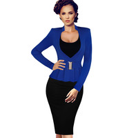 VfEmage Womens Elegant Faux Twinset Peplum Stand Collar Patchwork Wear to Work office Business Party Bodycon Sheath Dress 1880