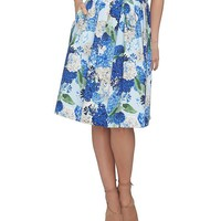 CeCe Hydrangea Bouquet A-Line Gathered Skirt | Dillards